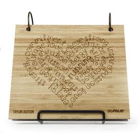 Engraved Bamboo Wood BibFOLIO Running Inspiration Heart