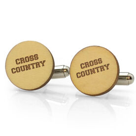Track and Field Engraved Wood Cufflinks Cross Country