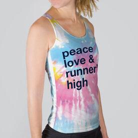 Women's Performance Tank Top - Peace Love & Runner's High Tie-Dye