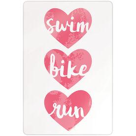 "Triathlon 18"" X 12"" Aluminum Room Sign - Swim Bike Run Watercolor Hearts"