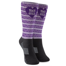 Track and Field Printed Mid-Calf Socks - Heart Track and Field