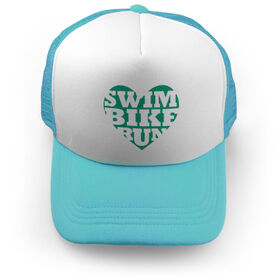 Triathlon Trucker Hat Swim Bike Run Heart