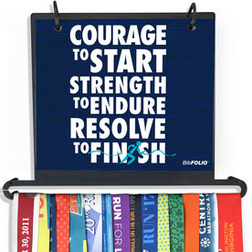 BibFOLIO Plus Race Bib and Medal Display - Courage To Start Quote - Textured Style