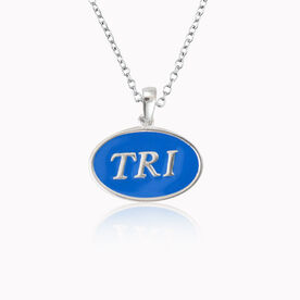 Sterling Silver and Blue Enamel Triathlon Necklace