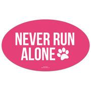 Running Oval Car Magnet - Never Run Alone (Bold)