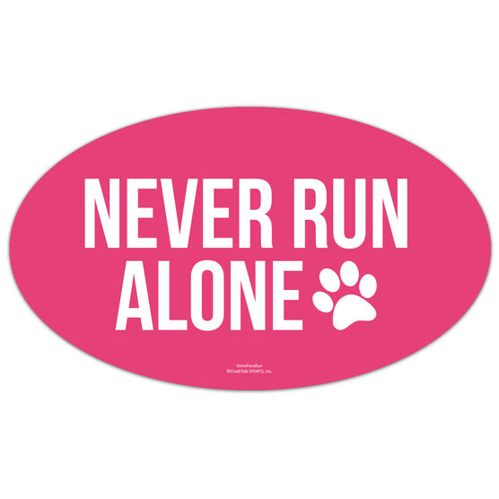 Running Oval Car Magnet - Never Run Alone (Bold)