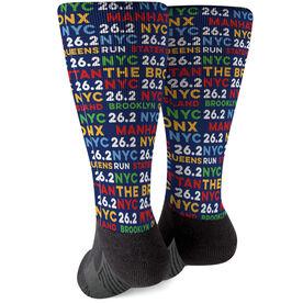 Running Printed Mid-Calf Socks - NYC Burroughs 26.2