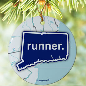 Connecticut State Runner (Royal/White) Porcelain Ornament