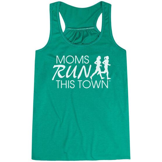 Flowy Racerback Tank Top - Moms Run This Town Logo (White)