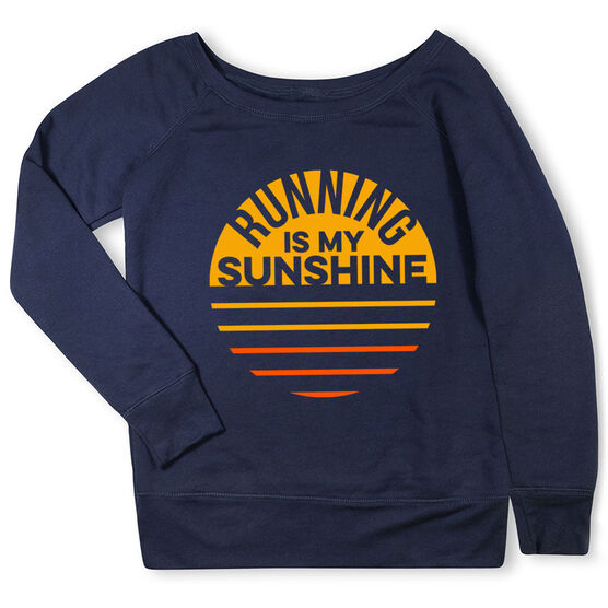 Running Fleece Wide Neck Sweatshirt - Running is My Sunshine
