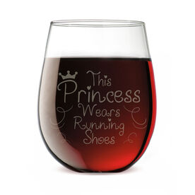 Running Stemless Wine Glass This Princess Wears Running Shoes (Text)