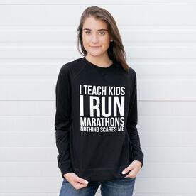 Running Raglan Crew Neck Sweatshirt - I Teach Kids I Run Marathons