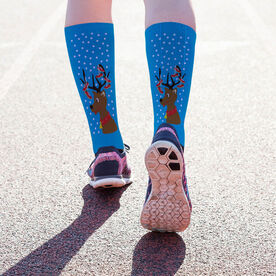 Running Printed Mid-Calf Socks - Reindeer with Running Shoes