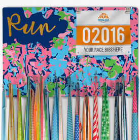 Running Large Hooked on Medals and Bib Hanger - Run Floral