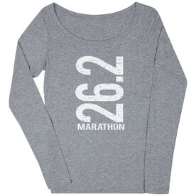 Women's Runner Scoop Neck Long Sleeve Tee 26.2 Marathon Vertical