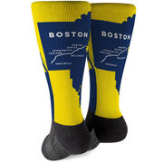 Running Printed Mid-Calf Socks - 26.2 Boston Route