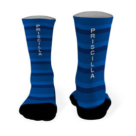 Running Printed Mid Calf Socks Your Name with Stripes
