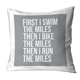 Triathlon Throw Pillow - Swim Bike Run The Miles