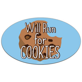 Will Run For Cookies Oval Car Magnet