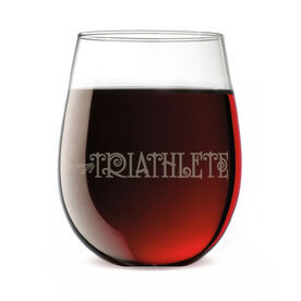 Triathlon Stemless Wine Glass Triathlete (Words)