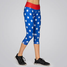 Running Performance Capris - Run Free (Large Stars)