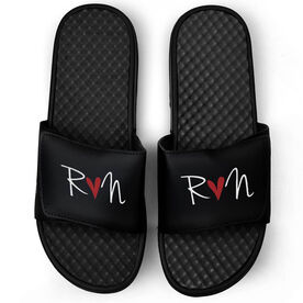 Running Black Slide Sandals - Run Heart