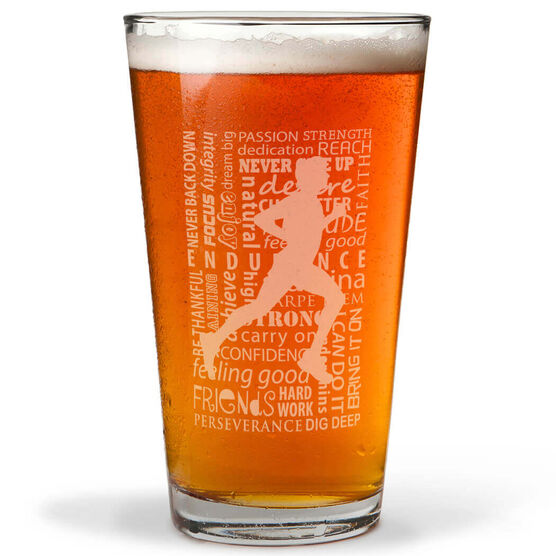 Running Inspiration - Male 16 oz Beer Pint Glass