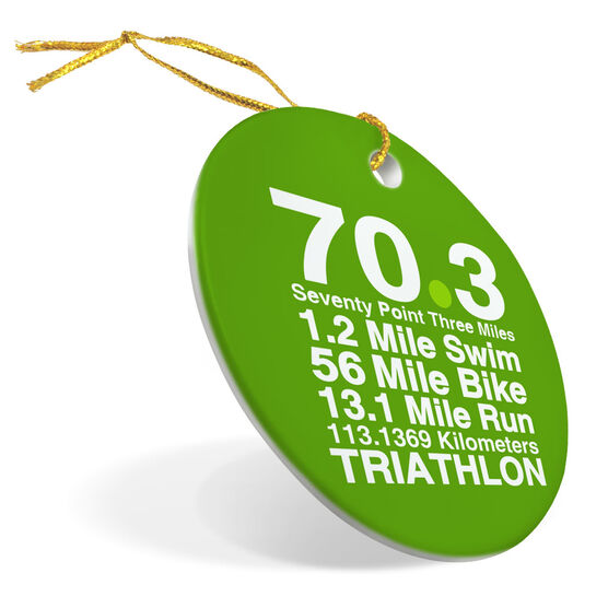 Triathlon Porcelain Ornament 70.3 Math Miles
