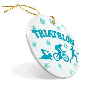 Triathlon Porcelain Ornament Snowflakes