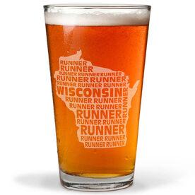 16 oz Beer Pint Glass Wisconsin State Runner