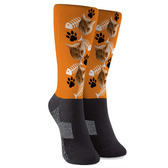 Printed Mid-Calf Socks - Custom Cat Face