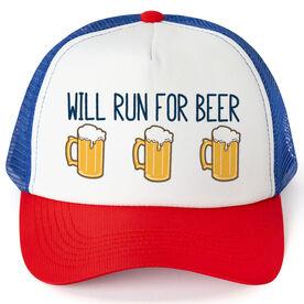 Running Trucker Hat - Will Run For Beer
