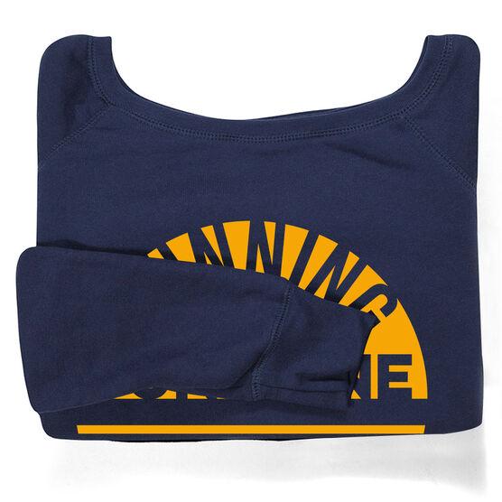 Running Fleece Wide Neck Sweatshirt - Running is My Sunshine