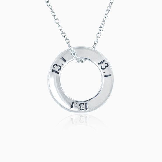 Sterling Silver 13.1 Half Marathon Message Ring Necklace