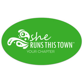 Running Oval Car Magnet - She Runs This Town Logo (Custom Chapter)