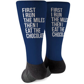 Running Printed Mid-Calf Socks - Then I Eat The Chocolate