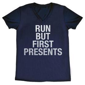Women's Running Short Sleeve Tech Tee - Run But First Presents
