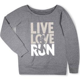 Running Fleece Wide Neck Sweatshirt - Live Love Run Silhouette