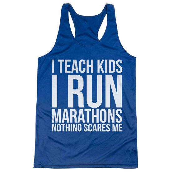 Women's Racerback Performance Tank Top - I Teach Kids I Run Marathons