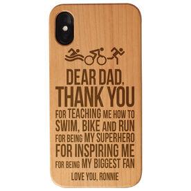 Triathlon Engraved Wood IPhone® Case - Dear Dad