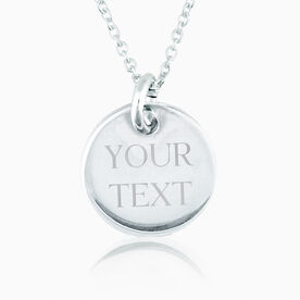 Engraved necklaces for runners running pendants sterling silver custom engraved 20mm pendant necklace aloadofball Image collections