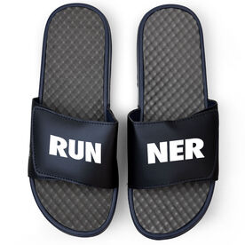 Running Navy Slide Sandals - RUNNER Text