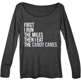 Women's Runner Scoop Neck Long Sleeve Tee - Then I Eat The Candy Canes