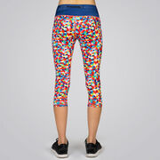 Running Performance Capris With Zipper Pocket - Crazy For Color