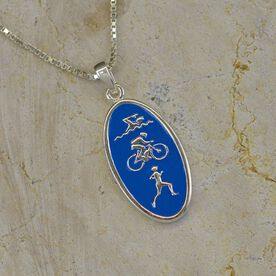 Sterling Silver and Blue Enamel Swim Bike Run Triathlon Icon Necklace
