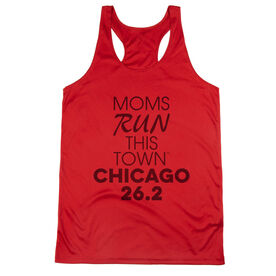 Women's Racerback Performance Tank Top - Moms Run This Town Chicago 26.2