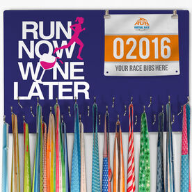 Hooked On Medals Bib & Medal Display Run Now Wine Later