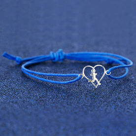Sterling Silver Cord Bracelet - Runner Girl Heart