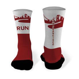 Running Printed Mid Calf Socks San Francisco City Skyline