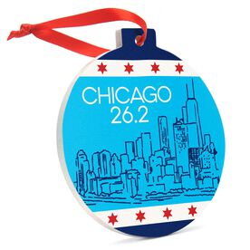 Running Round Ceramic Ornament - Chicago 26.2 Skyline